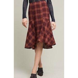 Anthropologie Maeve Plaid Wool Midi Skirt